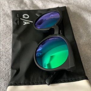 Barely worn Quay sunglasses with blue/ green tint